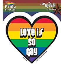"Rainbow Heart Love Is So Gay Pride decalcomania Sticker - 4""x3.75"" - Weather Resistant, Long Lasting for Any Surface"
