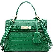 UEVO cocodrilo cuero de la PU grano Platinum bolsas de cuero auténtica mujeres bolso de mano moda patchwork funda marca alta calidad Mujer Oficina Messenger Bolsas de hombro, verde