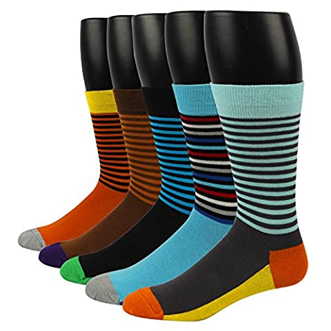 RioRiva Herren Business Socken Berufssocken Arbeitssocken Anzugsocken Für Männer Kniestrümpfe (EU Size 44.5-49/ UK 10-13.5, MSK43X-Nadelstreifen 5paar)