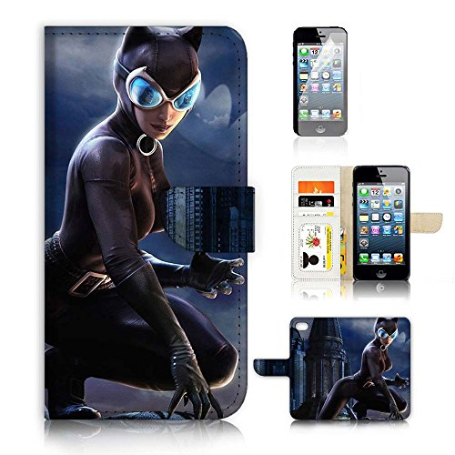 (für iPhone 55S/iPhone SE) Flip Wallet Schutzhülle & Displayschutzfolie Bundle. a20397Katze Frau Super Hero