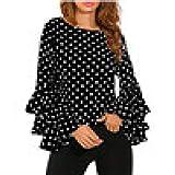 Damen Polka Punkt-Hemd MEIbax beiläufige Bluse Tops Bell Hülsen Lose Oberteile T-Shirt Langarmshirt Vintage Tunika Rundhalsausschnitt Langarm Shirt