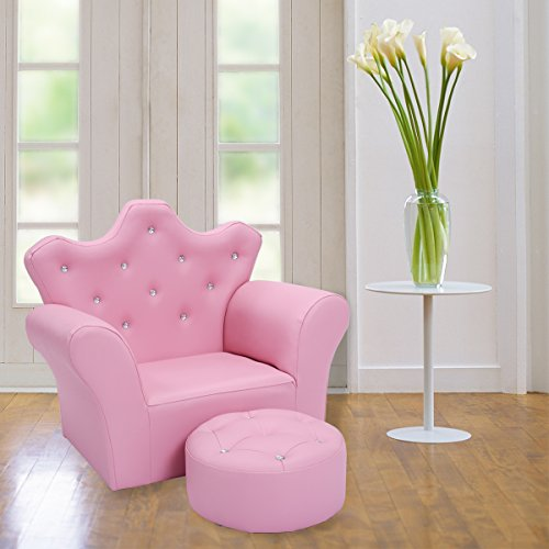 Costway Kids Sofa Set Children Armchair Chair PU Leather Seat W/Free Footstool Pink
