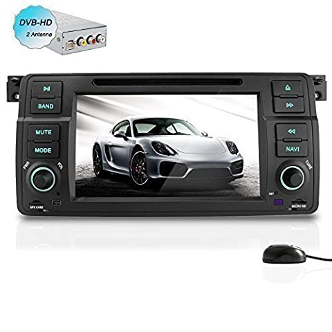 YINUO 1DIN Quad Core 16GB 1024*600 Android 4.4.4 autoradio GPS Navigation mit Bluetooth Touchscreen DVD-Player und USB/SD-Funktion für BMW 3 Series E46 and M3 1998-2006 BMW E46 3ER 318 320 325 330 335 mit DVB-T BOX