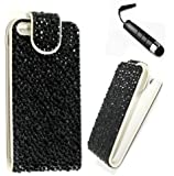 Apple iPhone 4 / 4G /4S Black Jewelled Diamond Bling Sparkly Gem Glitter Crystal Floral Vertical Pu Leather Print Flip Wallet Case Cover Pouch Plus Crystal Stylus Pen, Screen Protector & Screen Polishing Cloth