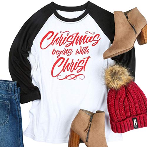 CNBJMAZA Weihnachten beginnt mit Christus Raglan Baseball T-Shirt Langarm Color Block Top - Hand Block Gedruckt Baumwolle Rock
