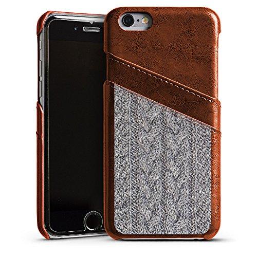Apple iPhone 5s Housse Étui Protection Coque Look laine Tricoter Motif Étui en cuir marron