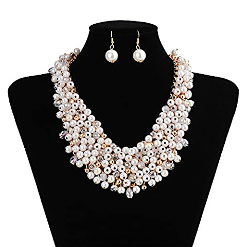 X&Y ANGEL Pearl and Crystal Necklace Chunky Statement Jewelry Set ZZZ045