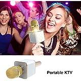 Micrófono karaoke disco Bluetooth inalámbrico para smartphone, cuadrado rosa