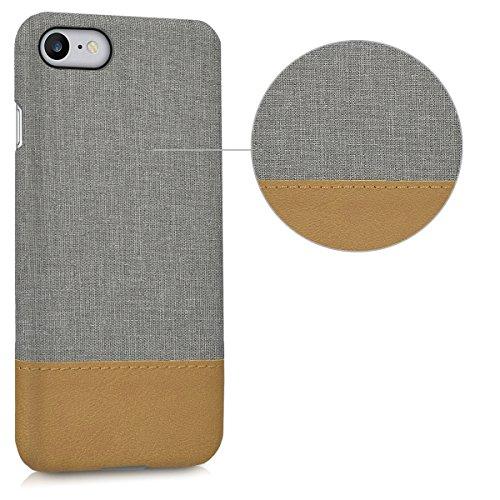 kwmobile Housse rigide tissu pour Apple iPhone 7 / 8 - case cover en Design Canvas anthracite .gris clair marron