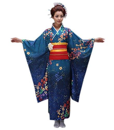 XueXian(TM) Femmes Kimonos Robe Traditionnelle Kimono Japonais Impression de Fleurs Trois Motifs en Polyester(bleu marine)