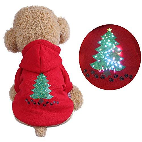 Imagen de royal wise pet sudadera con capucha jersey perros gatos luz led hasta invierno ropa cachorro gato navidad disfraz abrigo rojo ropa