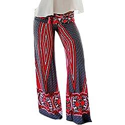 ZhuiKun Palazzo de Pierna Ancha Bohemio Hippie Rayas Rojas Pantalón Fluido con Estampado Étnico S