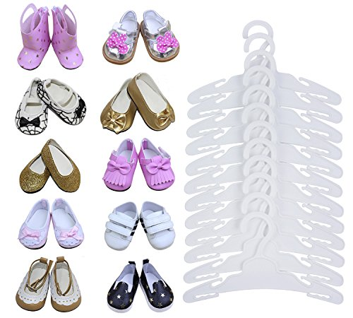 cessory -LOT 15= 12 Hanger+3 Ramdon Shoes fit für18 zoll American's Girl Doll Puppen und andere 18 Zoll Puppenkleidung-Weiße Farbe- Safe new PP plastic material ()