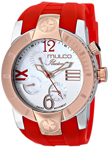 Mulco Women's 46mm Red Silicone Band Steel Case Swiss Quartz White Dial Analog Watch MW5-1877-063