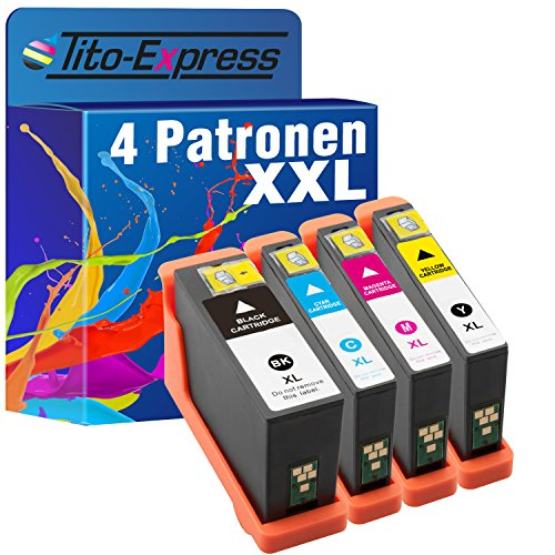 Dell Tintenpatrone Patronen (Tito-Express PlatinumSerie 4X Tinten-Patrone XXL für Dell 31 32 33 34 V525W V725W 31, 32, 33, 34)