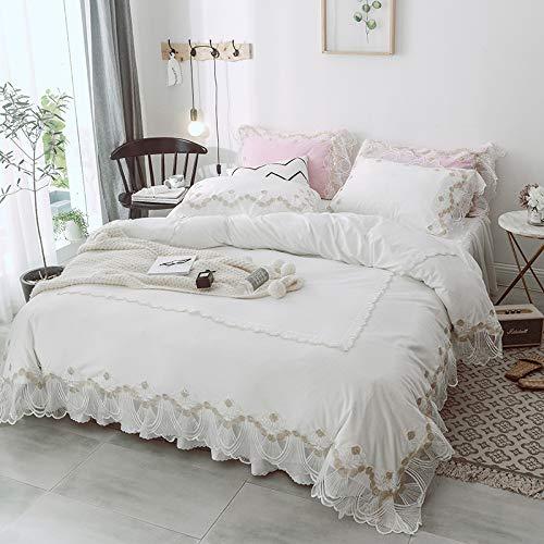 XMDNYE Warme Kristall Kaschmir Vier Stück Korallen Samt Spitze Reine Farbe Winter Mädchen Herz Quilt, Weiß, 2,0 M (6,6 Fuß) Bett -