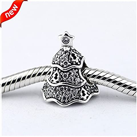 DIY Fits for Pandora Bracelet Twinkling Christmas Tree Charms with Clear Cubic Zircon 100% 925 Sterling Silver Beads 2.31g Silver and Clear Color by S925