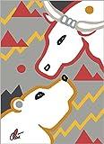 Jacqueline Ditt - The Bull and the Bear Thing - Essential - Grey Font (Die Bulle und Bären Sache - Essenziell - Grauer Hintergrund) - universal arts Galerie Studio - Original Grafik Druck limitiert handsigniert und nummeriert - Alurahmen weiss