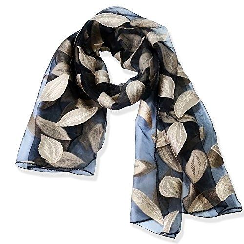 YFZYT Organza-Schal für Damen mit Feder Stickerei Muster/Elegantes Accessoire für Frauen/Organza-Schal/Halstuch/Schulter-Tuch/Schal Chiffon Stola Scarves - Beige Blätter