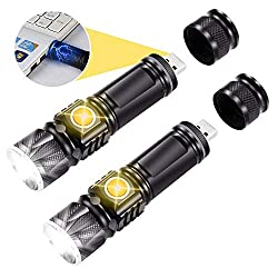 Flashlight rechargeable, battery included LED flashlights Powerful USB flashlight [2-pack]