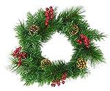 CHRISTMAS CONCEPTS Guirnalda Decorada de 30 cm con piñas y Bayas Rojas