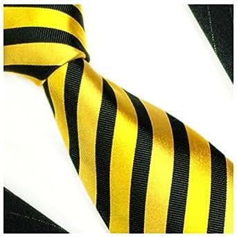 Gold schwarze Krawatte 100% Seide von Paul Malone