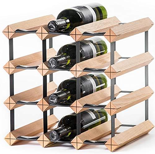 RAXITM Classic Premium Weinregal aus Holz mit luxuriösem Design, Flaschenregal für 12x Wein Flaschen 32,5x32,5x30 cm