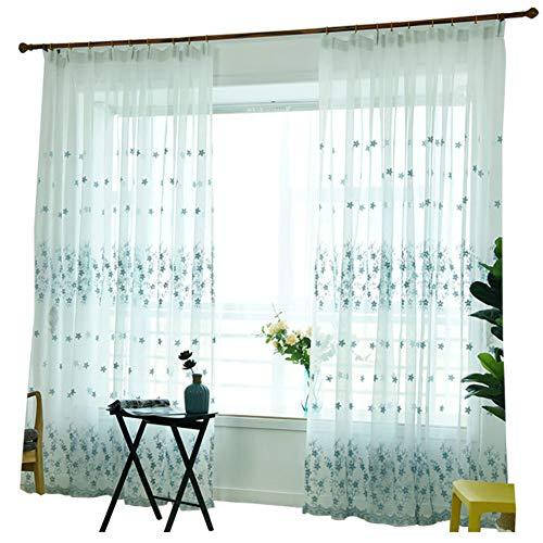 GWW Weiße Stickerei Voile Vorhänge,livingroom Semi Schiere Tüll Vorhang 2-Panel Semi Aussetzzeit Vorhang Mit Haken-blau 250x270cm(98x106inch)*2 -