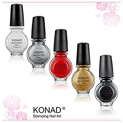 KONAD Pack of 5 Stamping Polishes - each 11 ml
