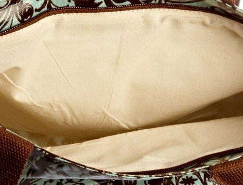 Re-Uz Borsa tote Medium Oilcloth Tote Tribal, Donna Blu (Light Blue/Brown)