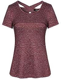 Sykooria T-Shirt Damen Sportshirt Kurzarm Schnell Trocken Elastisch Yoga Gym Tshirt