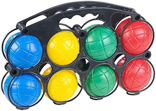 PEARL NX-5887 Kinder Ball: Boule-& Boccia-Spiel mit 8 Kunststoff-Kugeln, Ziel-Kugel & Tragekorb (Bocciaset), bunt - Outdoor-spiel-set