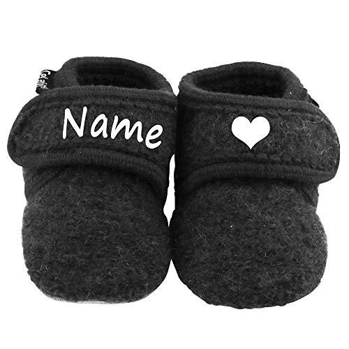 Elefantasie Baby Wollschuhe mit Namen personalisiert dunkelgrau Gr. 17/18