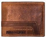 Hill Burry Herren Geldbörse | Echt-Leder Portemonnaie - aus weichem hochwertigem Rindsleder - Brieftasche Portmonee Geldbeutel | Kredit-Kartenetui Wallet | Querformat (Braun)