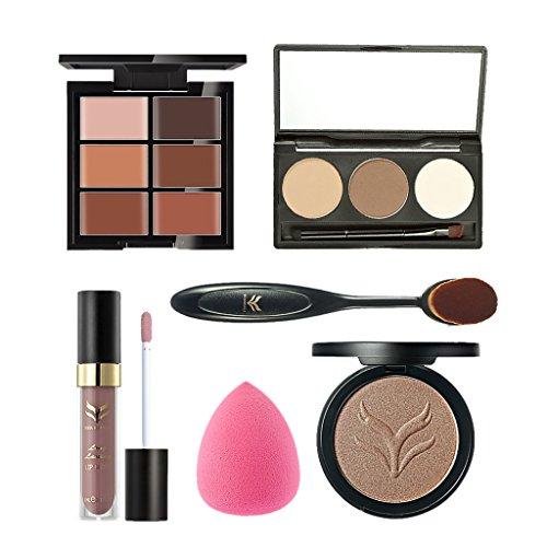 MagiDeal Set 6Pcs Base de Maquillage Kit Cosmétique Poudre Compacte+Correcteur Anti Cernes +Lèvre Gloss +Sourcils Poudre+Pinceau