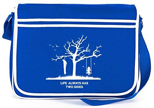 Shirtstreet24, Life Always Has Two Sides, Retro Messenger Bag Kuriertasche Umhängetasche Royal Blau