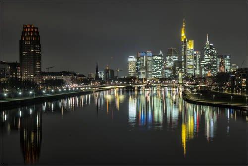Unbekannt Alu Dibond 120 x 80 cm: Skyline mit der Flößerbrücke, Frankfurt Skyline, Frankfurt am Main von Bernd Wittelsbach/Mauritius Images
