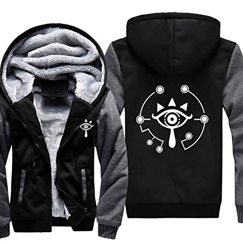 Herren Winter Kapuzen pullover Plus Samt Zip Jacke Eye Of Truth Hoodie Verdicken Sweatshirt für Spiel Cosplay ()