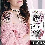5Pc-Trasferimento Di Acqua Pizzo Rosso Intenso Adesivo Tatuaggio Rosa Totem Petto Motivo Body Art Tatuaggi Impermeabili Tatuaggio Da 23