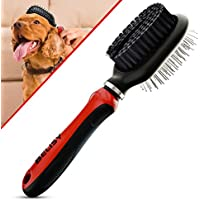 Dog Grooming Brush - Cat Scratching Brush by BELISY - Double Sided Brush For Cat and Dog - Cat Toilet Brush with Flexible and Ergonomic Handle - Cat/Dog comb - Red (Pet Supplies)
