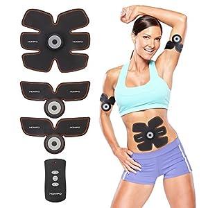 HOMPO Muskeltrainer Elektrisch EMS Bauch-Training Elektrostimulator EMS Trainingsgerät Muskelaufbau Einfache Fitness Leicht zu tragen für Männer Frauen Geschenk