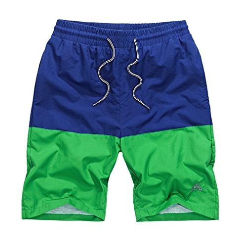 BININBOX® Herren Shorts Knielang Badeshorts Badehose Surfshorts beach Pants Surfwear Sommer Blau+Grün