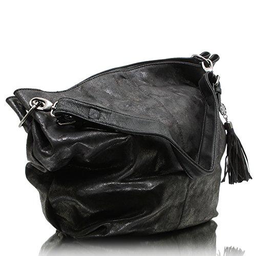 Jennifer Jones 3441 Handtasche Damen Damentasche Henkeltasche Schultertasche Tasche Schwarz