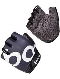 Rightvp Hombre Mujer Guantes de Ciclismo Dedo Medio con Gel Almohadillas Transpirables y cómodas para Absorber Vibraciones (M), Negro+Blanco