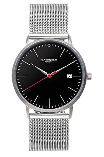 HENRI BENETT Bauhaus Uhr Saphirglas - 38 mm | Schweizer Ronda Uhrwerk | Herrenuhr | Herrenuhren Milanaiseband (Silber - schwarz - milanaise)