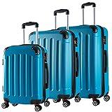 WOLTU RK4204ts, Reise Koffer Trolley Hartschale Volumen erweiterbar, Reisekoffer Hartschalenkoffer 4 Rollen, M/L / XL/Set, leicht und günstig, Türkis 3er Set (M+L+XL)