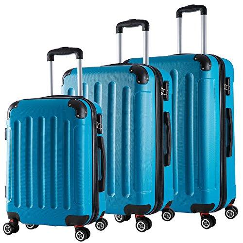 WOLTU RK4204ts, Reise Koffer Trolley Hartschale Volumen erweiterbar, Reisekoffer Hartschalenkoffer 4 Rollen, M/L/XL/Set, leicht und günstig, Türkis 3er Set (M+L+XL)