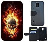 Flip Cover Schutz Hülle Handy Tasche Etui Case für (Samsung Galaxy S5 Neo, 1095 Totenkopf Skull Feuer Orange Schwarz)