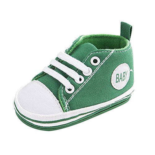 Nette Baby-Segeltuch-Turnschuh-Rutschfeste Weiche Trainer-Schuhe 0-18M (S: 0-6 Monate, Grün) (Segeltuch-schuhe Natürliche)