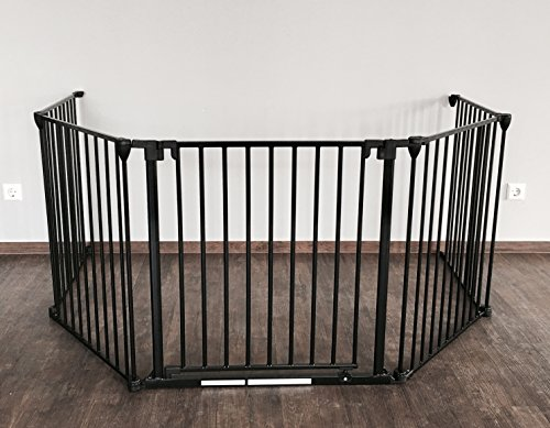 Eine Breite Von Sechs Tier (Binder Geprüftes Schutzgitter für den Kamin 210 - 510 cm | mit extrabreiter Tür (84cm) | faltbar | in Schwarz | aus Metall | für Kleinkinder, Babys & Tiere (3tlg.))